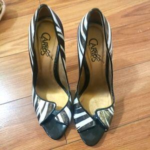 Carlos zebra colored high heels